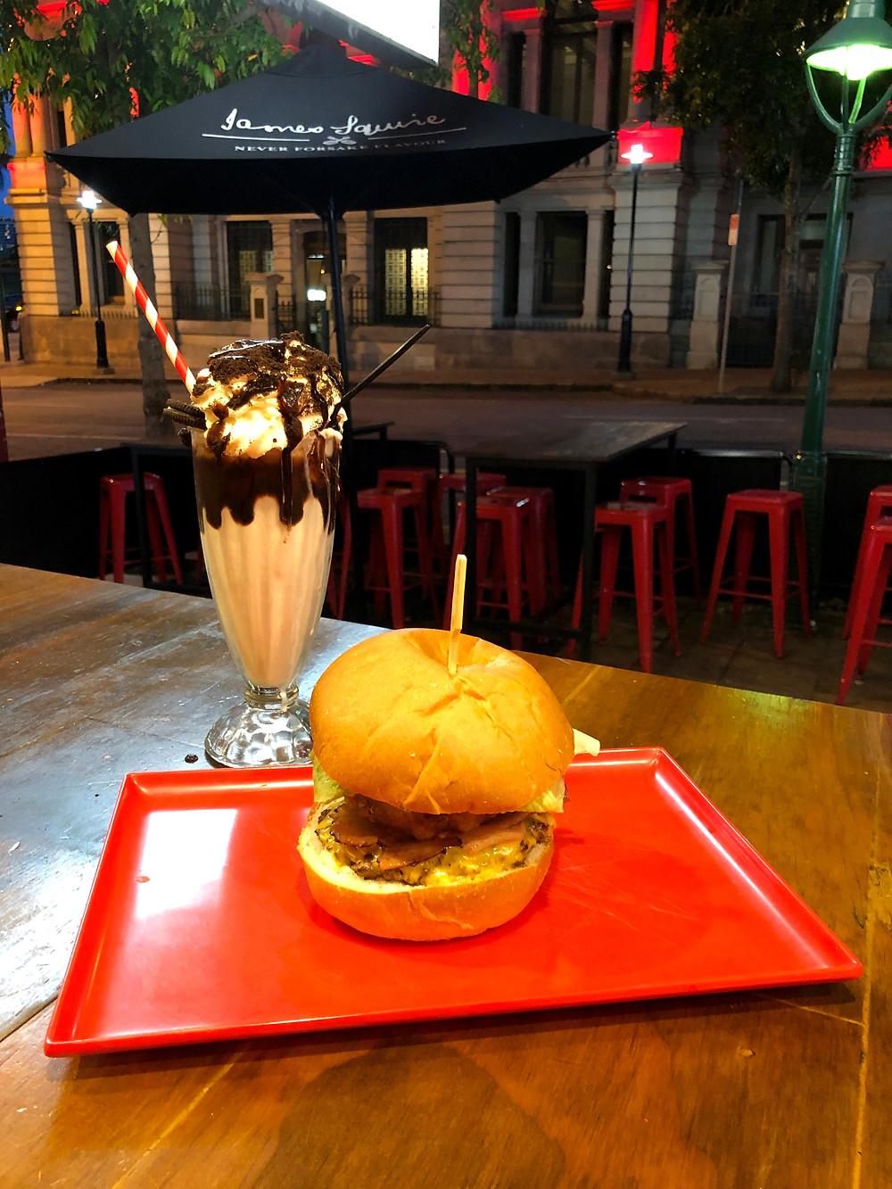 Burger and a milkshake at Miss Kay's