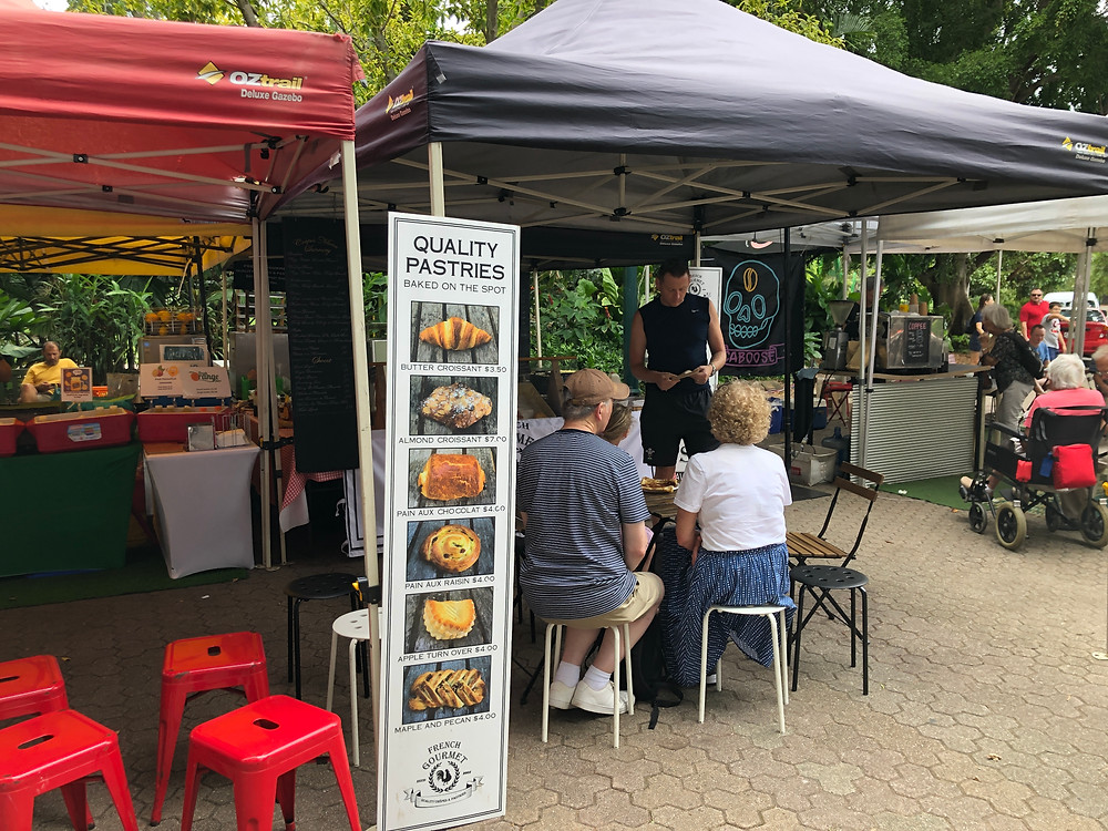 Fresh croissants and coffee on sale at Riverside Markets