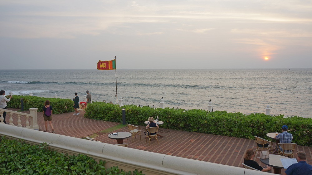 Flag-lowering ceremony at Galle Face Hotel