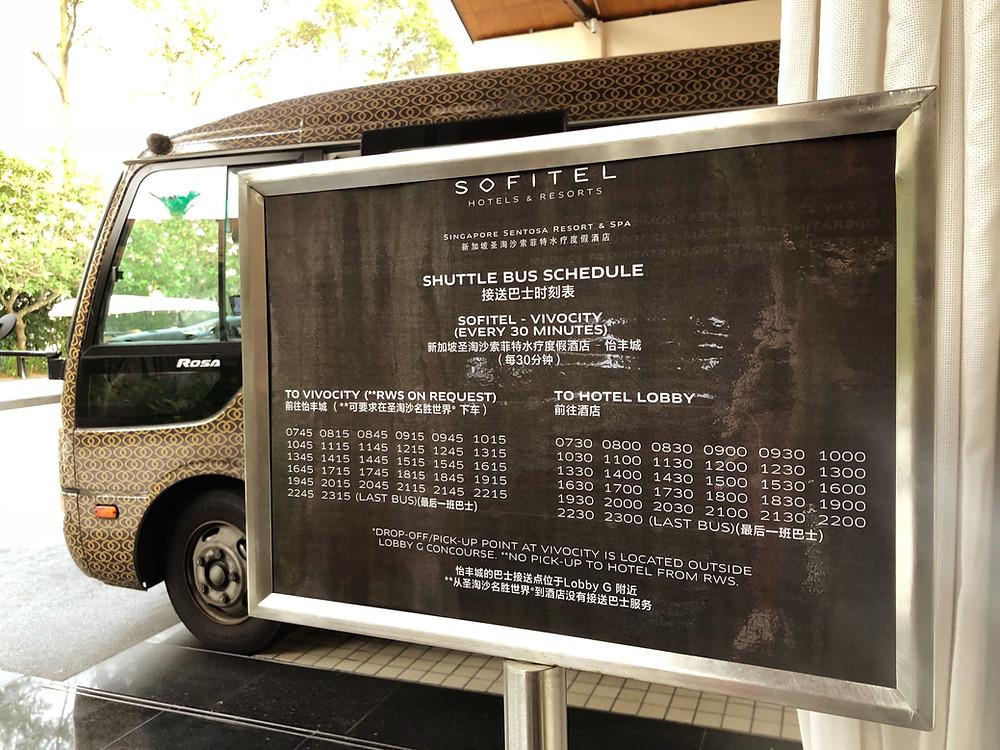 Shuttle bus schedule between Sofitel Singapore Sentosa Resort & Spa and Vivocity.