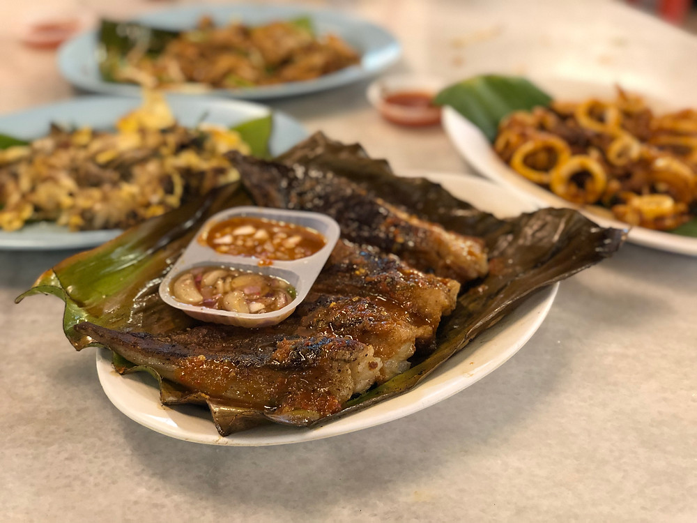 Grilled stingray for supper at the local hawker centre at Batu Ferringhi Night Market