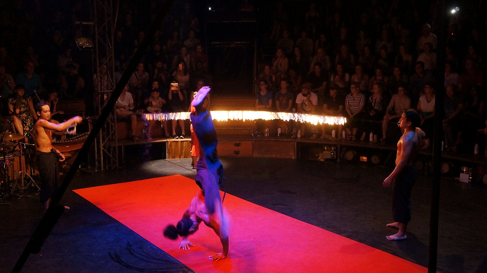 During the performance at Phare The Cambodian Circus