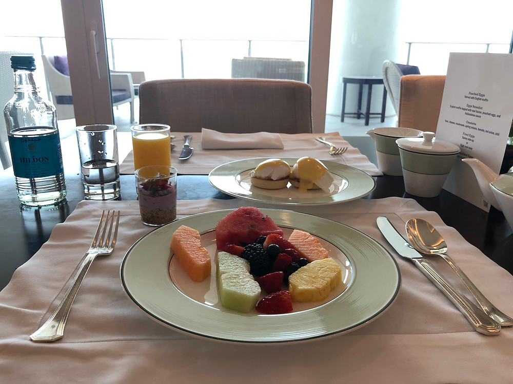 Pearl Club Lounge - A good way to start the day with some fresh fruits and poached eggs