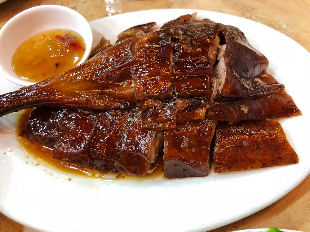 A plate of delicious roasted goose at Yat Lok Roast Goose