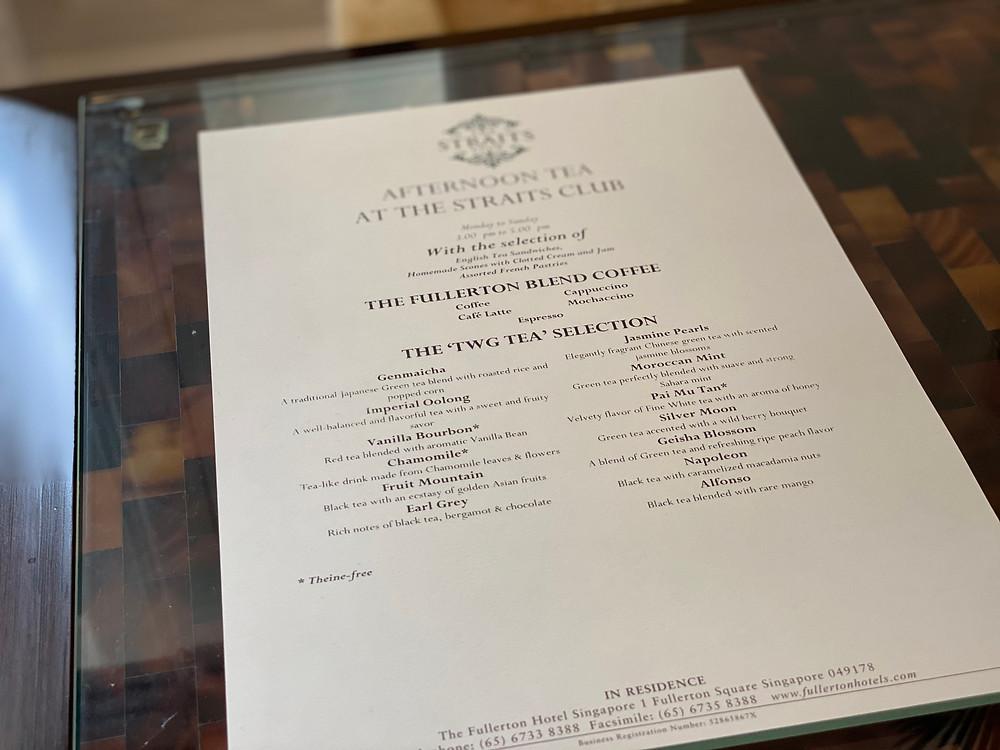 Afternoon tea menu at The Straits Club