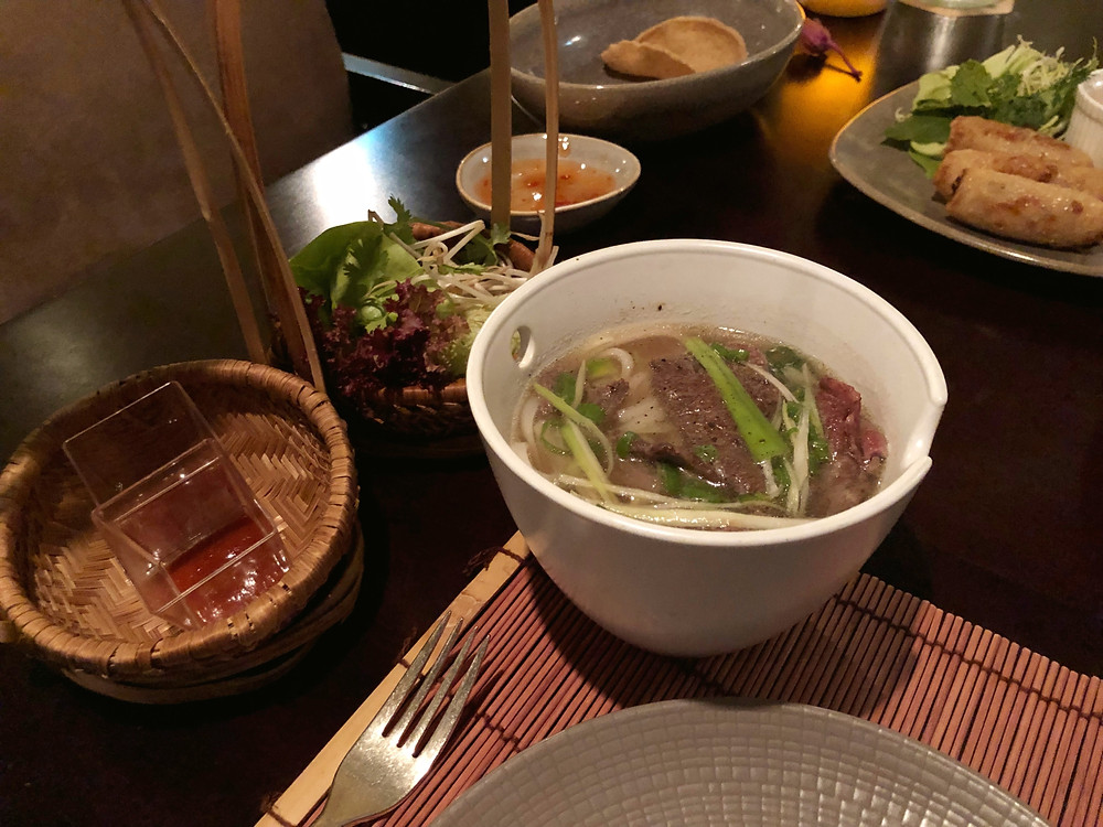 A fresh bowl of pho at Lao at Waldorf Astoria Dubai Palm Jumeirah