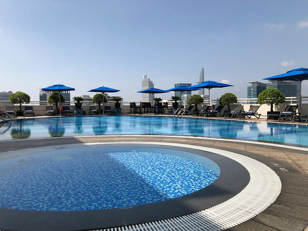 The rooftop swimming pool is a great place to relax and have some light snacks