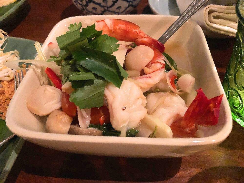 Tom Yam soup at Soul Food Mahanakorn