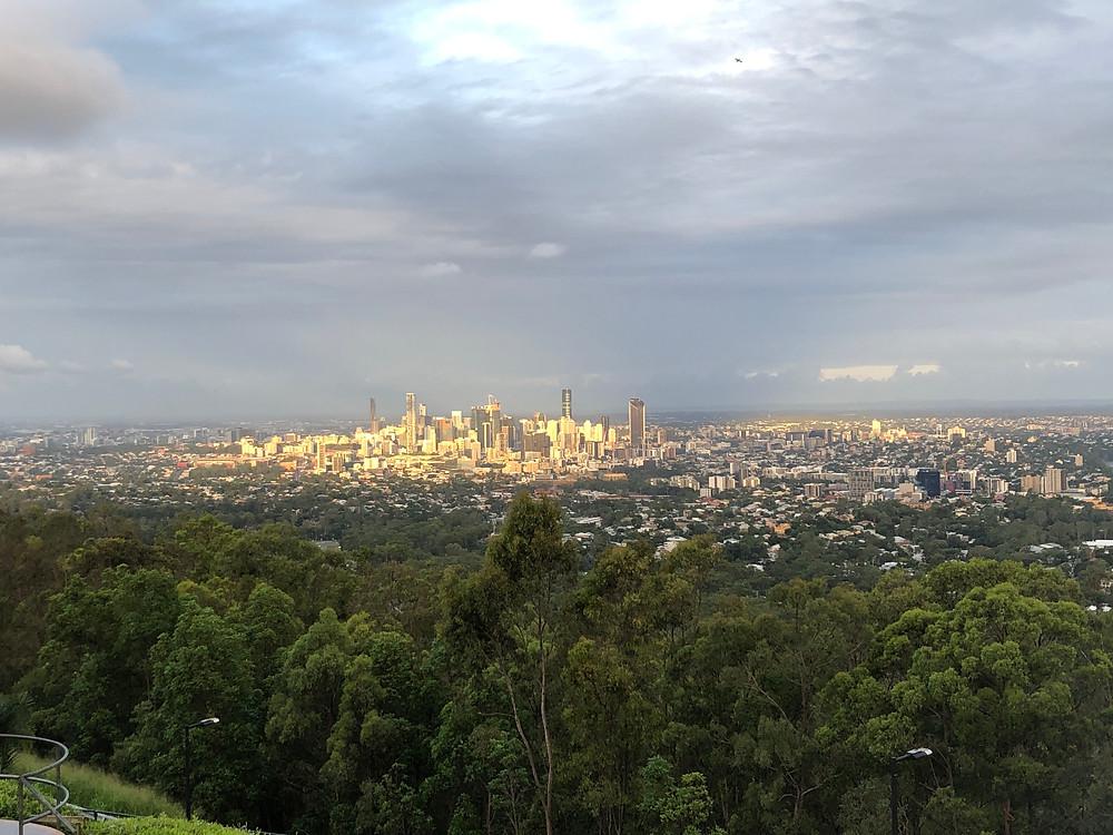 Some final direct sunlight onto Brisbane city before sunset arrives
