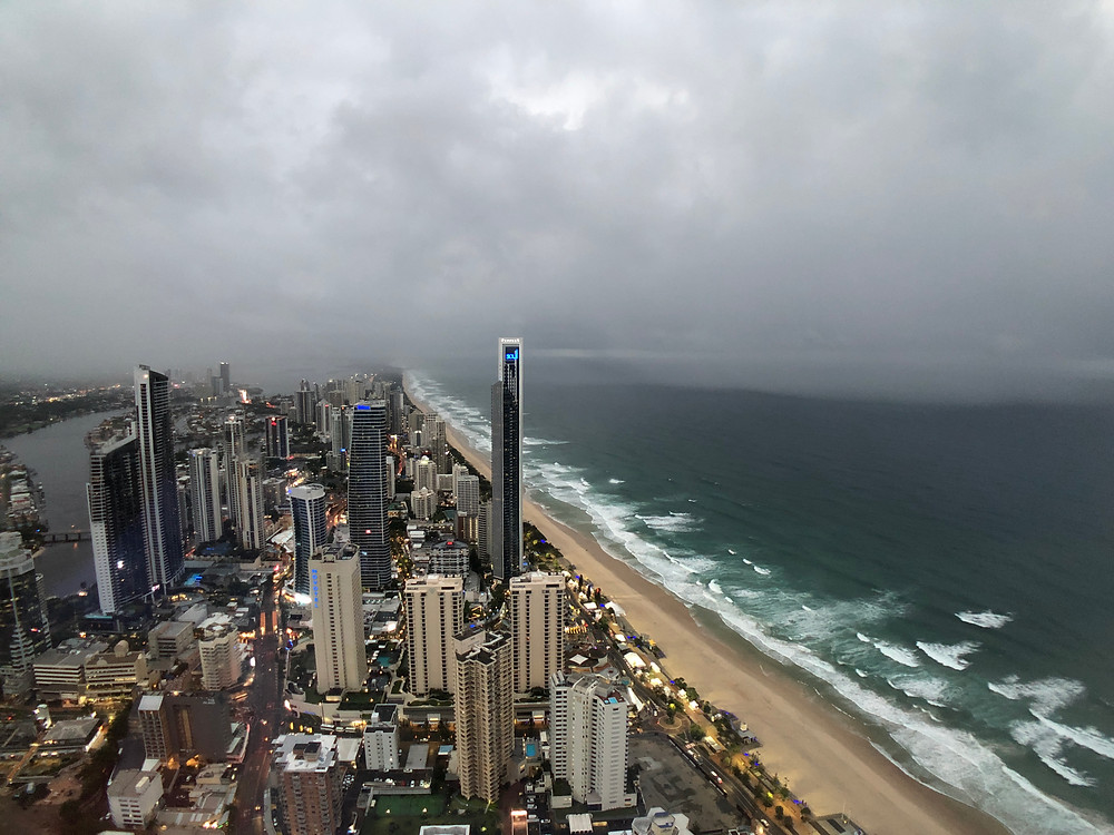 View from SkyPoint Observation Deck - As night reaches Gold Coast