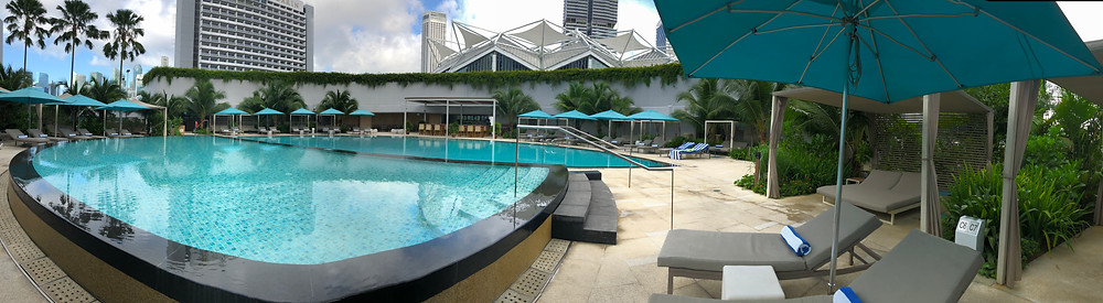 View of Pan Pacific Singapore's entire swimming pool