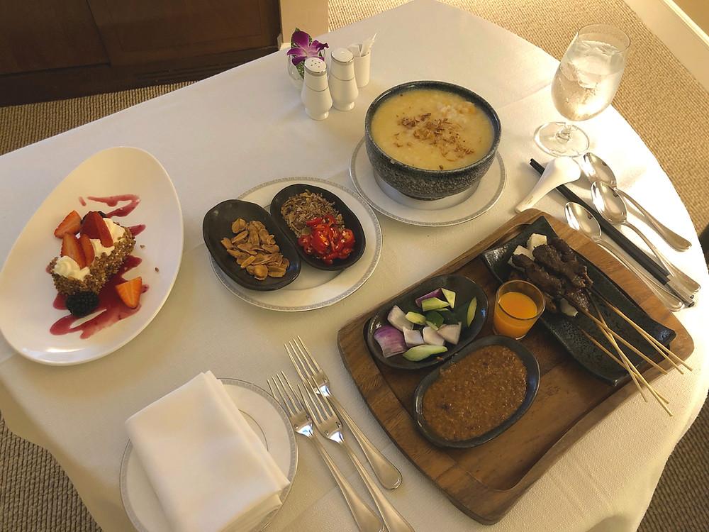 Regent Singapore Room Service - A starter, a main, and a dessert