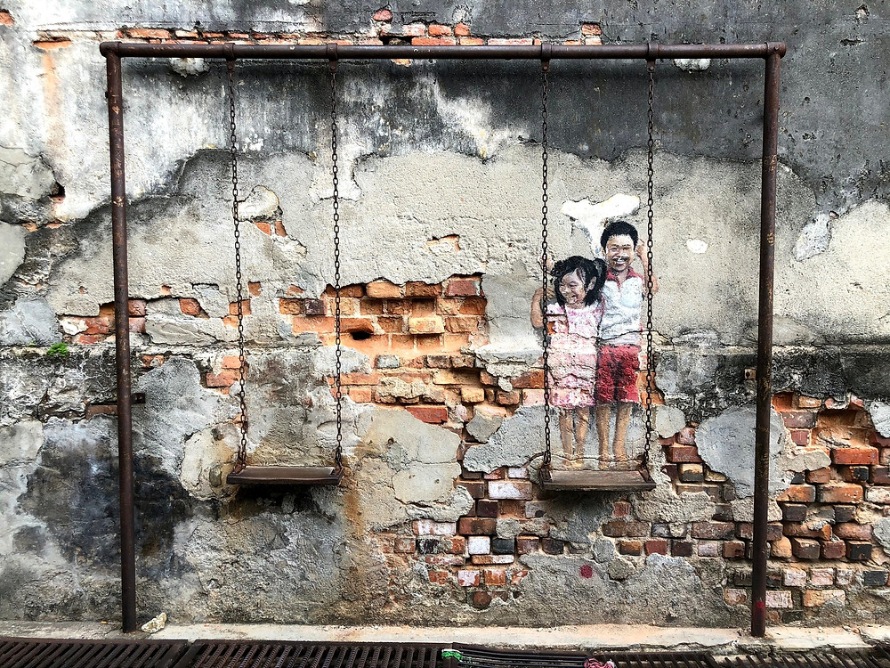 Penang Street Art - Brother and sister on a swing