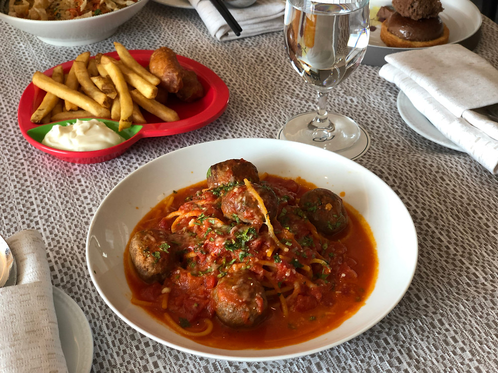Sofitel Singapore City Centre Room Service - Angus Meatballs Spaghetti and some crispy fish fingers