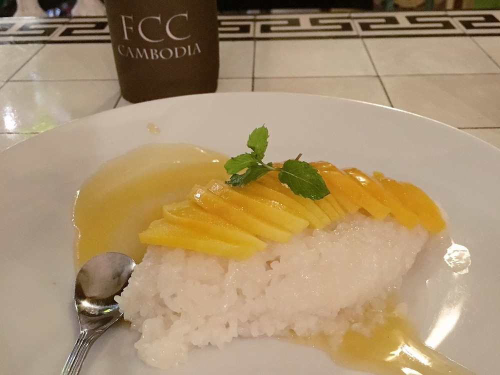 A plate of mango sticky rice to end the meal at FCC Phnom Penh