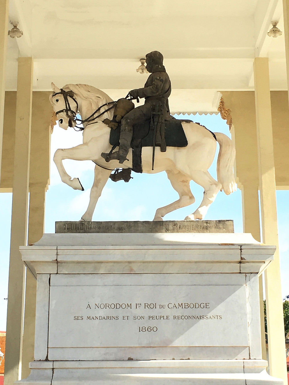 A statue of King Norodom within the grounds of the Royal Palace