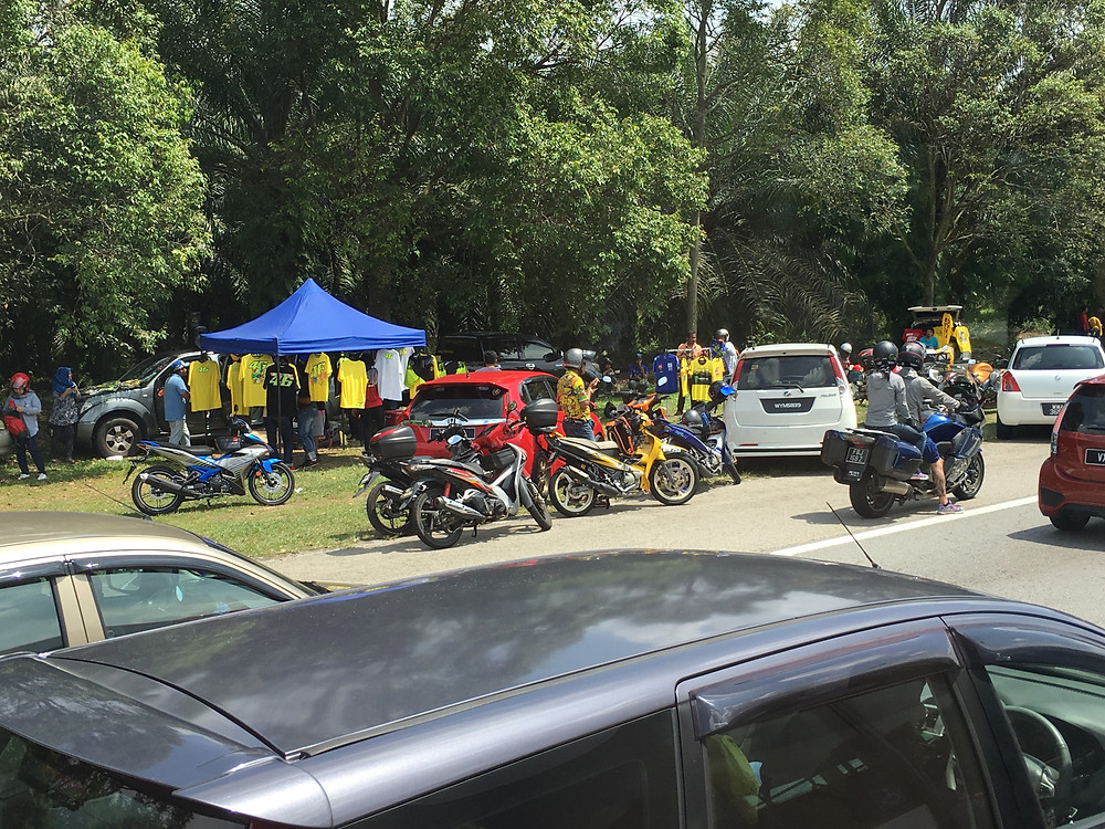 Vendors selling merchandise on the way towards Sepang Circuit