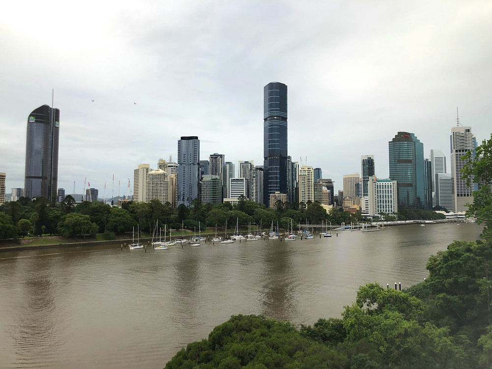 View of the Brisbane skyline from the top of Kangaroo Point Cliffs Park