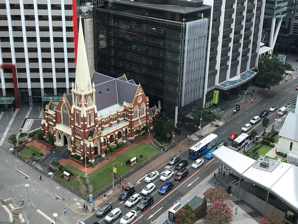 View of Albert Street Uniting Church from the Brisbane City Hall Clock Tower