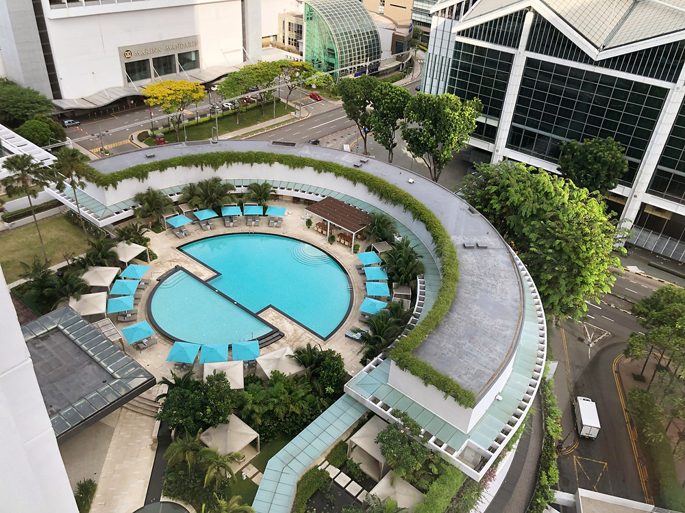 View of the heated swimming pool at Pan Pacific Singapore