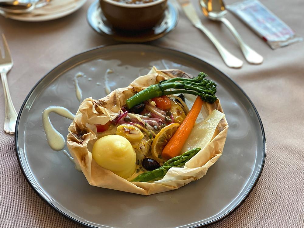 The Fullerton Bay Hotel Room Service - Enjoying Filet De Loup en Papillote for lunch