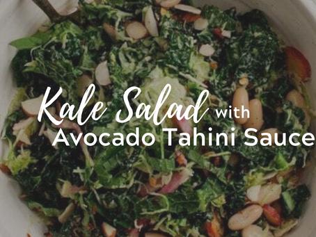 Kale Salad w/ Avocado Tahini Sauce