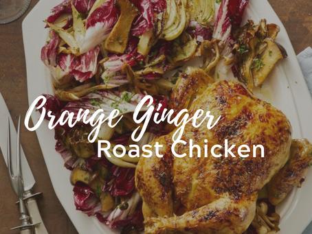 Orange-Ginger Roast Chicken with Fennel and Radicchio Salad