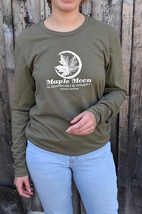 Military Green Long Sleeve Maple Moon Shirt