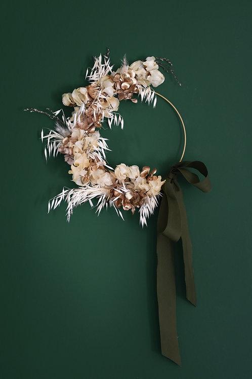Demi couronne de fleurs séchées