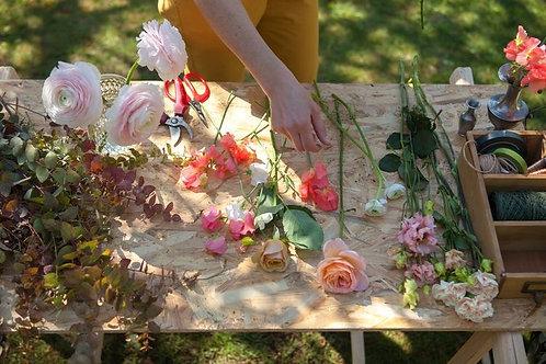 Atelier Mercredi 19Mai 2021 / Couronne de fleurs séchées