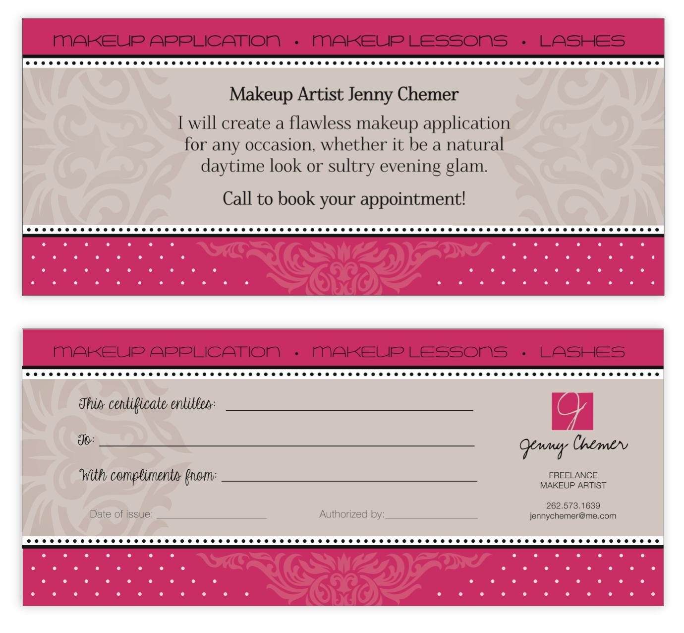 Jenny Makeup gift certificate
