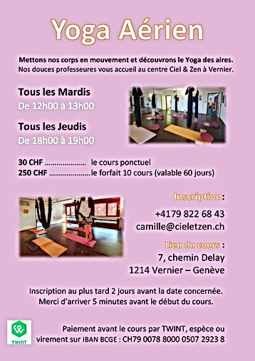 Affiche Yoga aérien Mardi et Jeudi 2021
