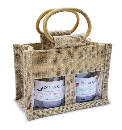 TWO JAR HAND-CRAFTED JUTE BAG