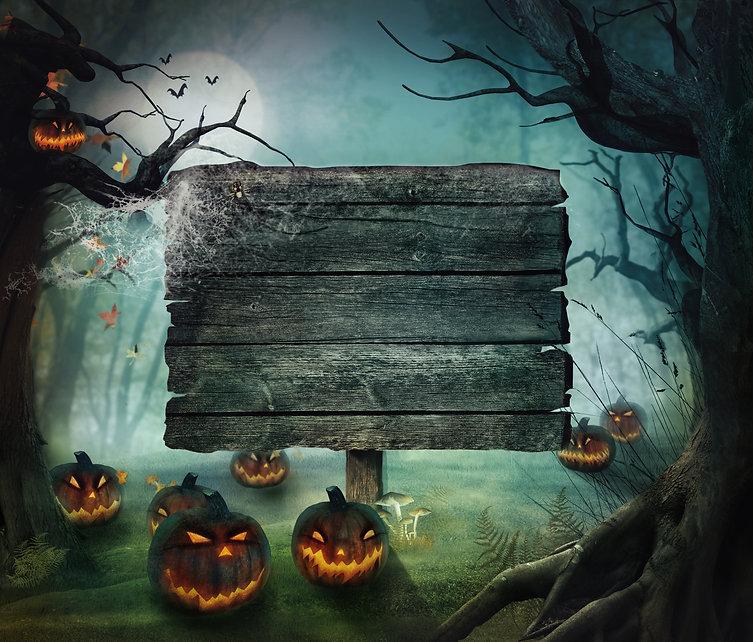 Halloween design - Forest pumpkins. Horr