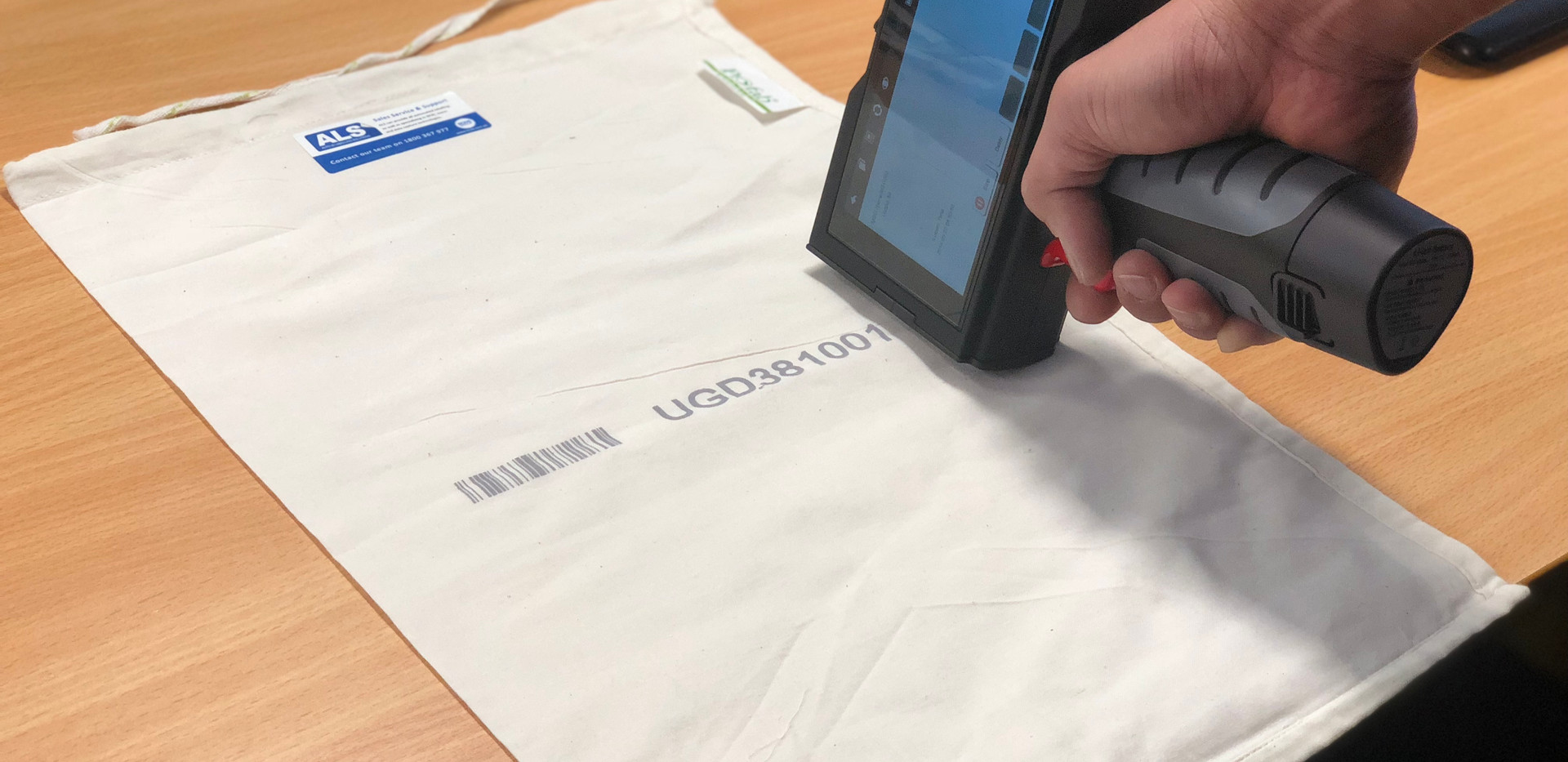 S2i printer on postal bag.JPG