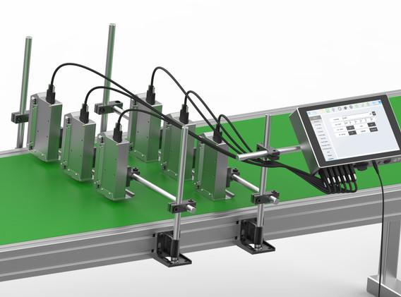 IP65 x 6 single printheads on conveyor.j