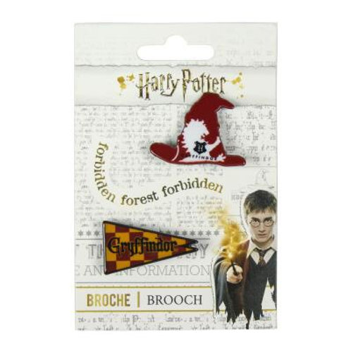 Set Of Two Harry Potter Brooches - Flag and Sorting Hat