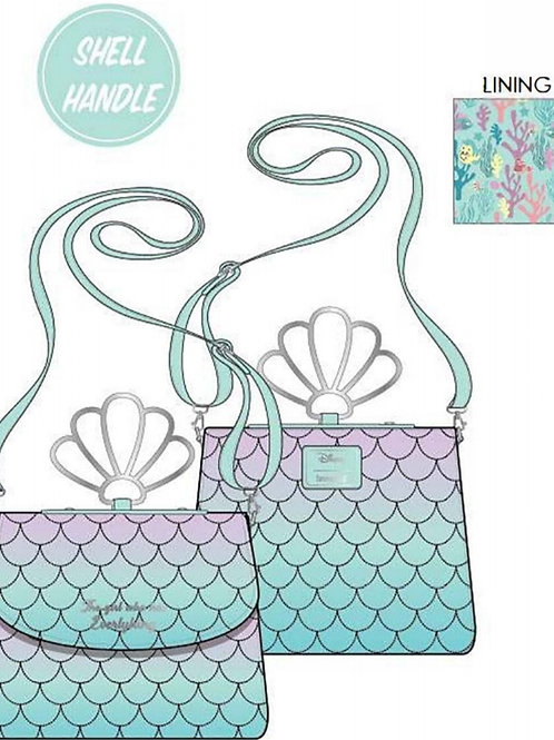 Loungefly disney little mermaid ombre scales shell handle crossbody
