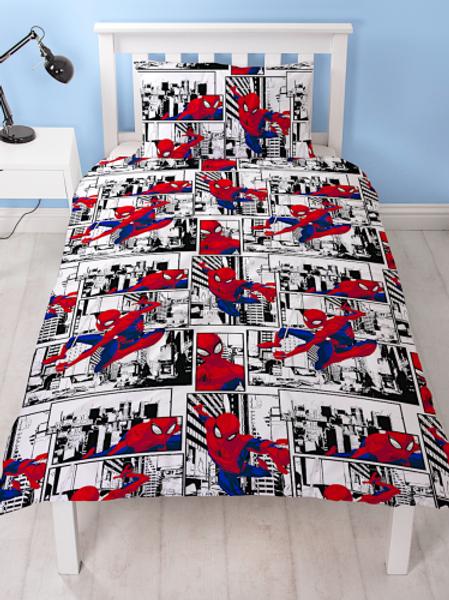 Spider-Man Single Duvet Set (Black and White background)