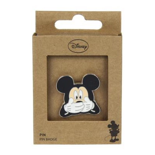 Disney Mickey Mouse Hands Covering Mouth Pin Badge