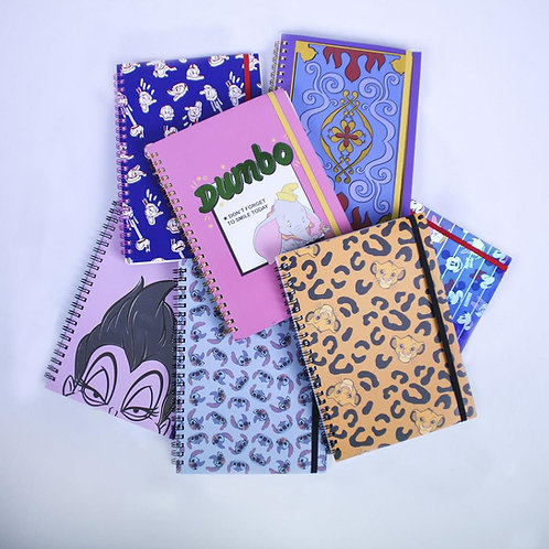 A5 Disney Notebooks Aladdin, Ursula, Stitch, Lion King, Dumbo, Donald Duck