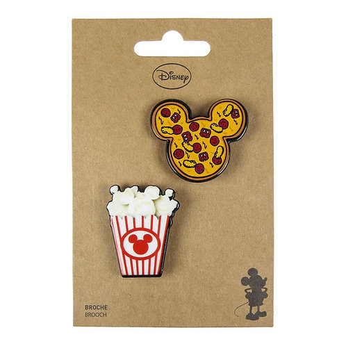 Disney Snacks Popcorn and Pizza Brooch