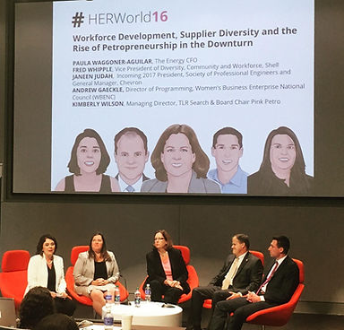 The Energy CFO's CEO facilitates a panel for Pink Petro on entrepreneurship with majors, female entrepreneurs, & supply