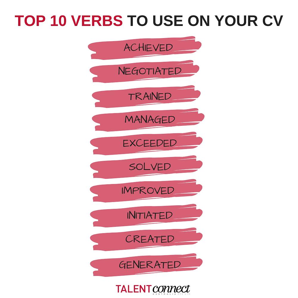 verbs on CV