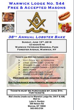 2018 Lobster Bake Flyer
