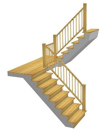 Kāpnes ar 180` pagriezienu un platformu