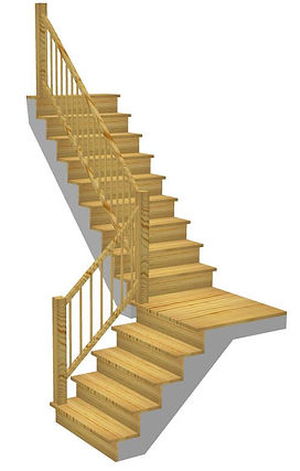 Kāpnes ar platformu 90 grādu pagrieziens