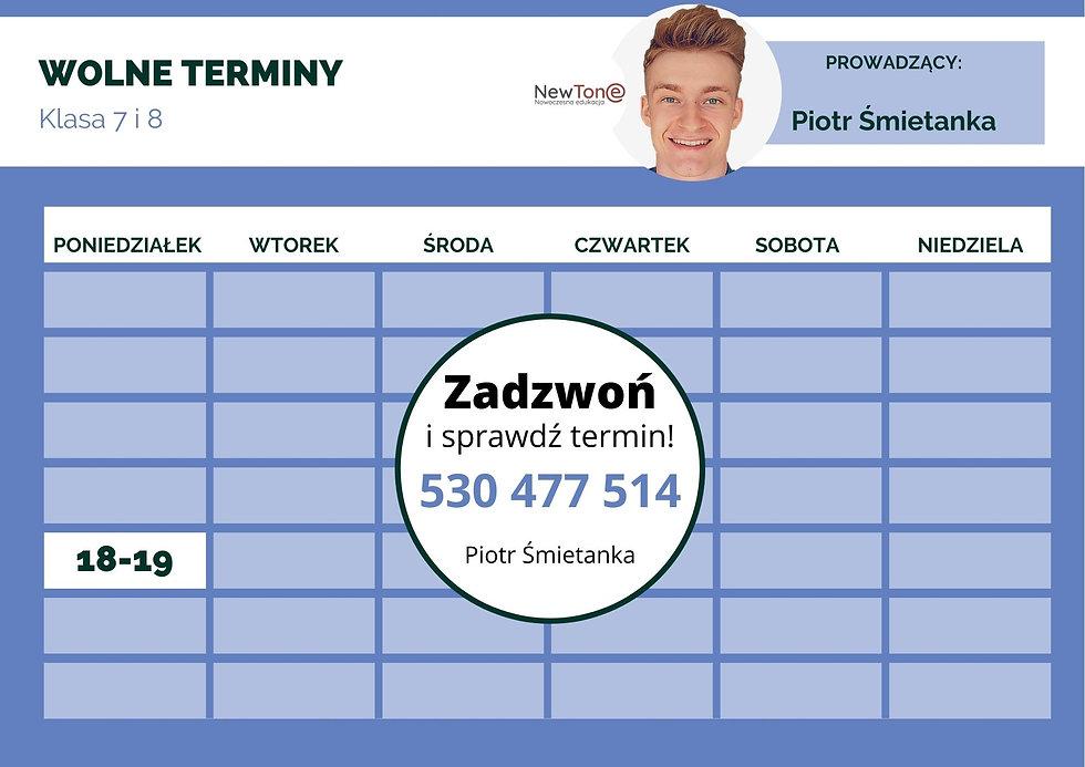 Wolne terminy - Piotr Śmietanka - update