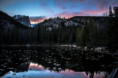 Sunset view of Hallet Peak in Rocky Mountain National Park, Colorado