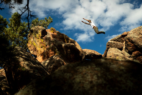 Parkour athlete Nick Ortiz in Boulder, Colorado